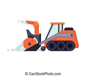 arado, máquina, vector, profesional, vehículo, ilustración, invierno, pesado, snowblower, camino, excavadora, retiro de nieve, limpieza