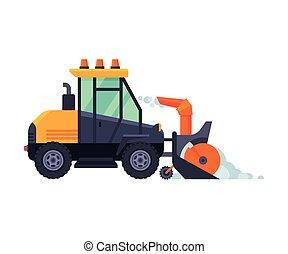 arado, máquina, vector, tractor, vehículo, ilustración, invierno, snowblower, camino, retiro de nieve, limpieza