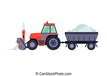 arado, máquina, vector, vehículo, ilustración, remolque, invierno, camino, retiro de nieve, tractor, limpieza