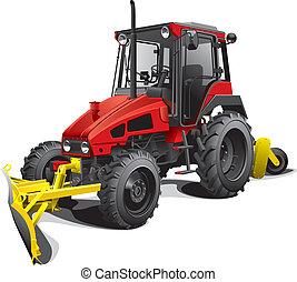 arado, nieve, tractor