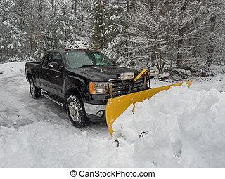 arado, terreno, claro, después, tormenta de nieve,...