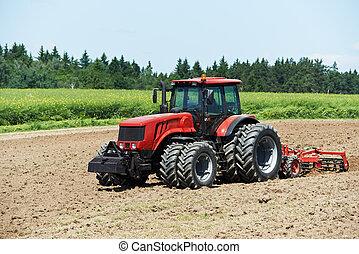 arado, tractor, en, campo, cultivo, trabajo