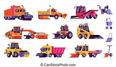 arado, veículo, limpeza, ilustração, estrada, caminhão, snowplow, inverno, isolado, neve, jogo, ícone, vetorial, equipamento, nevada, caricatura