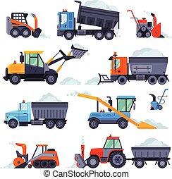 arado, vector, colección, ilustración, snowblower, invierno, camino, vehículos, máquinas, retiro de nieve, limpieza