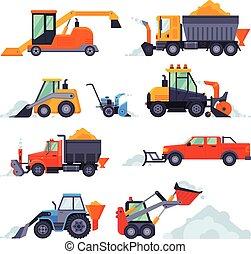 arado, vector, colección, ilustración, snowblower, invierno, excavador, camino, vehículos, máquinas, nieve, camión, eliminación, limpieza