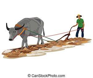 arado, vetorial, desenho, agricultor