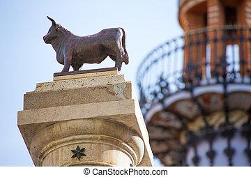 Aragon Teruel El Torico statue Plaza Carlos Castel Spain