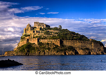 Aragonese castle at sunset: Ischia island (Italy)