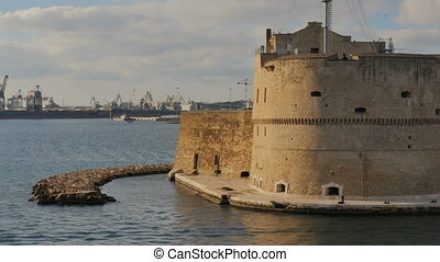 Aragonese castle in Taranto, Italy, with view of the...