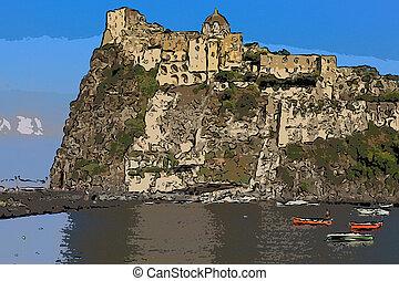 Aragonese castle (Ischia island Italy)  Stylize