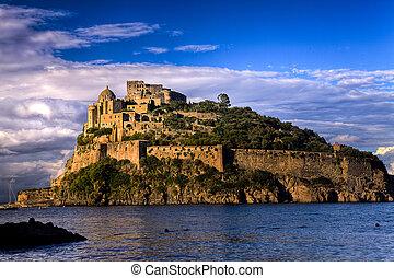 aragonese, zamek, na, sunset:, ischia, wyspa, (italy)