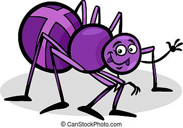 araignés, insecte, croix, illustration, dessin animé