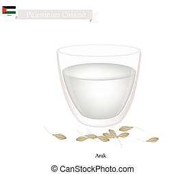 Palestinian Cuisine, Arak or Traditional Clear Brandy Flavored with Anise. One of The Most Popular Drink in Palestine.