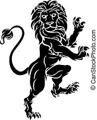 araldico, cappotto, cresta, rampant, braccia, leone, standing