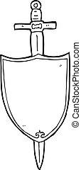 araldico, cartone animato, scudo