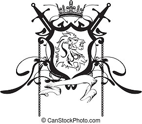araldico, cresta, testa, leone, tattoo5