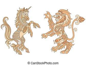 araldico, disegno, leone, unicorno