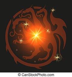 araldico, drago, stile, emblem.