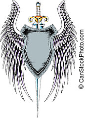 araldico, emblema, scudo, classico