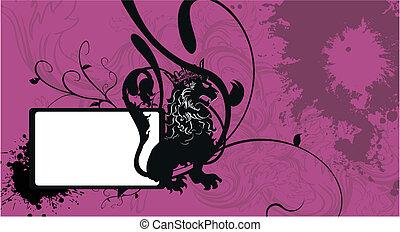 araldico, leone, background1