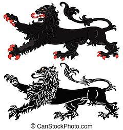 araldico, leone, passant, atteggiamento