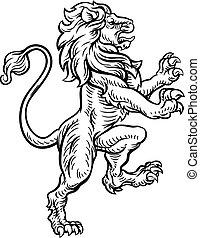araldico, leone, stile, disegno