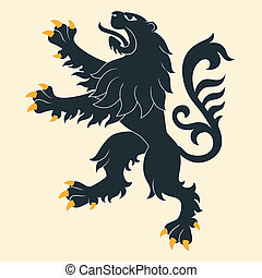 araldico, nero, leone