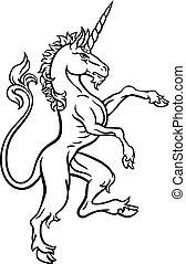 araldico, stile, disegno, unicorno