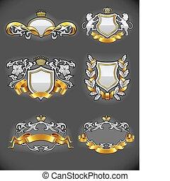 araldico, vendemmia, emblemi, set, argento, e, oro
