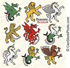 araldico, vettore, beasts., illustration.