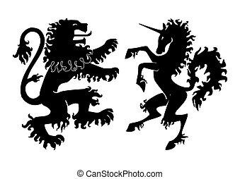 araldico, vettore, leone, unicorno
