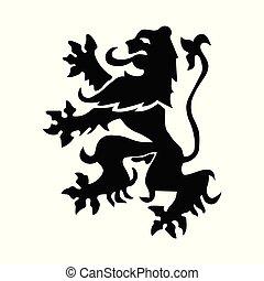 araldico, vettore, leone