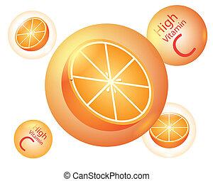 arancia, alto, c, vettore, vitamina