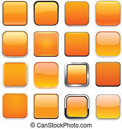 arancia, app, quadrato, icons.