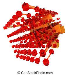 arancia, astratto, rosso, struttura