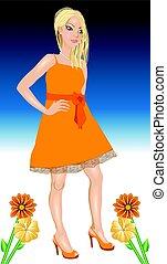 arancia, bianco, donna, vestire