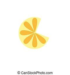 arancia, bianco, fetta limone