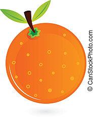arancia, bianco, frutta, isolato