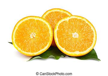 arancia, bianco, isolato, fondo