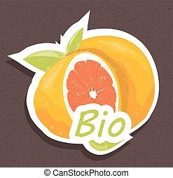 arancia, bio, etichetta