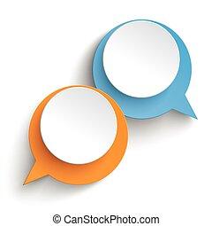 arancia, blu, bolle, 2, discorso