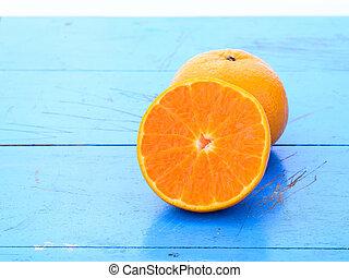 arancia, blu, tavola