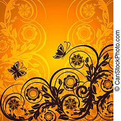 arancia, burro, ornamento, floreale