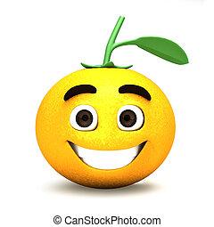 arancia, cartone animato, felice