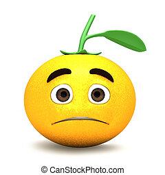 arancia, cartone animato, triste