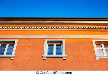 arancia, casa, cielo blu, contro