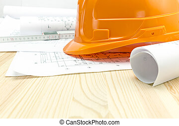 arancia, casco, sicurezza, progetti, architettonico