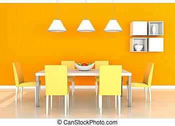 arancia, cenando, stanza moderna