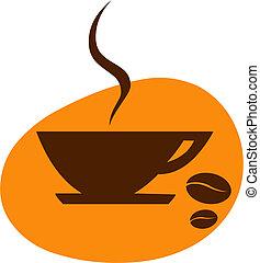 arancia, chicco di caffè, fondo, tazza