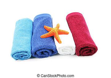 arancia, colorito, asciugamani, starfish